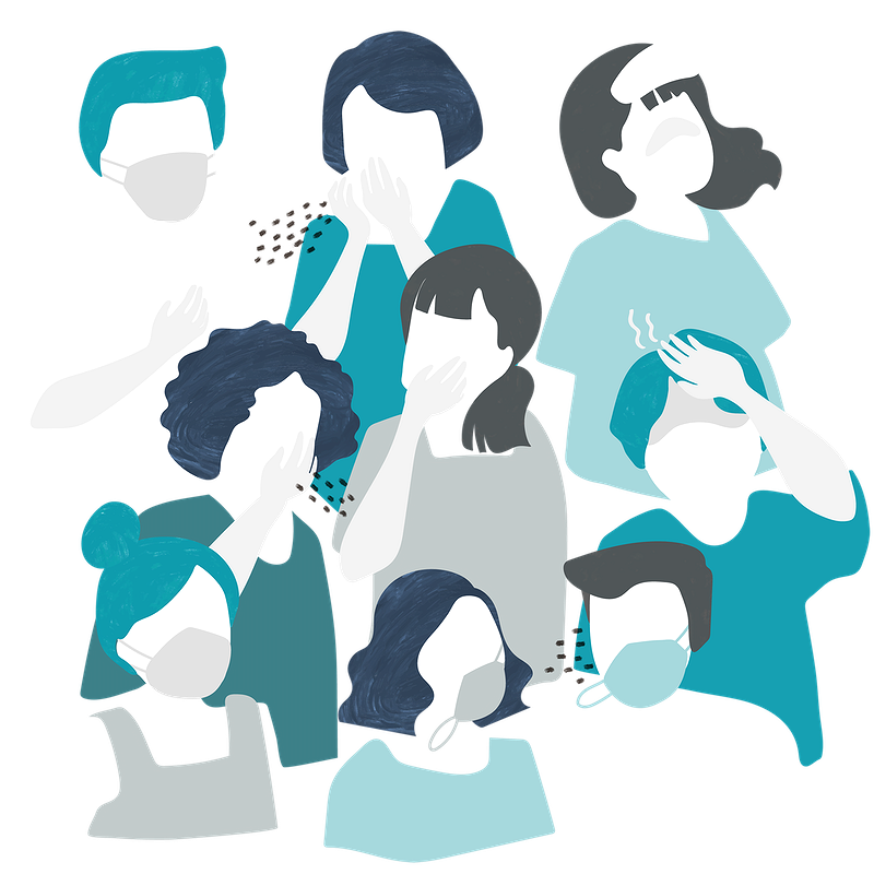 Graphic of group of people wearing masks and one sneezing