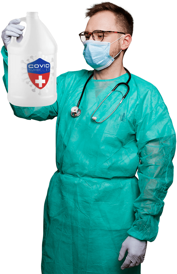 Doctor holding gallon of COVID Shield Disinfectant